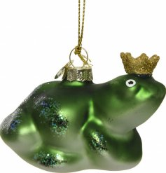 An enchanted themed frog prince hanging decoration complete with a glittery crown and added sparkle