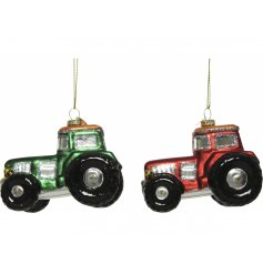 A mix of festive red and green glass hanging tractor decorations with added glittery trimmings