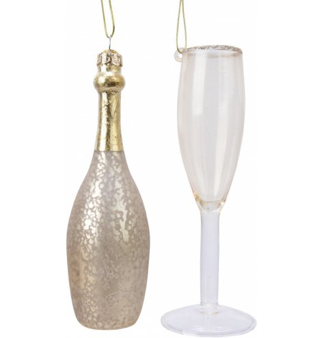 Subtle glass champagne bottle and champagne flute baubles.
