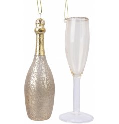 A beautifully decorated set of glass hanging decorations with a mottled finish and gold accents