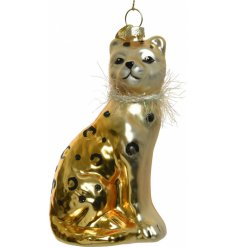 A small hanging glass cheetah decoration with added black glitter spots and a tinsel