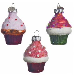 Sure to add a delicious touch to your tree decor at Christmas time, a mix of colourful glass cupcake decorations