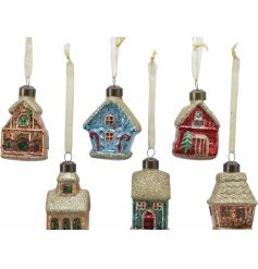 Perfect for adding to any tree display with a colourful feature, an assortment of 6 glass house hanging decorations