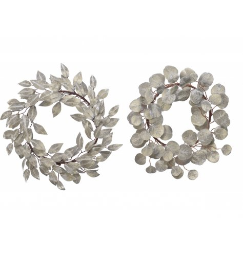 Luxurious silk leaf wreaths with a shimmer of glitter.