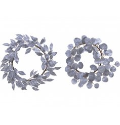 A simple yet stylish assortment of round Silver Leaf Wreaths, each decorated with a frosty glitter covering