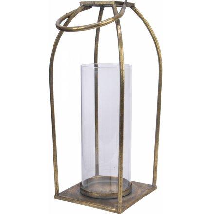 Tarnished Gold Iron Lantern, 37cm