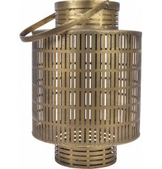 A large rounded metal cage lantern with a distressed tarnished gold tone