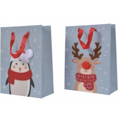 An assortment of fun and festive themed gift bags complete with red ribbon hangers and cute character decals