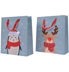 Perfect for gift giving during Christmas Time, an assortment of blue tone based gift bags with Christmas Character deca