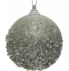 a foam bauble covered with silver glitter and diamontes