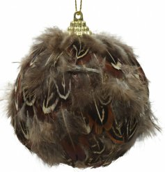 A sleek and stylish foam bauble covered with a brown feather, perfect to add to any Rustic Woodland setting