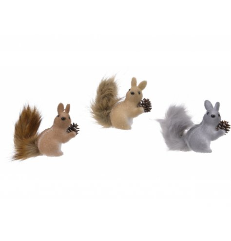 Autumnal foam squirrels with fuzzy fur bodies and bushy tails clasping pinecones.