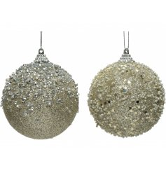 Sure to bring a glittery hint to any tree at Christmas, an assortment of foam baubles covered in sequins and diamontes