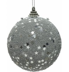 Covered with silver beads and mirrored stars, this hanging bauble will be sure to add a glitzy glam touch to your tree
