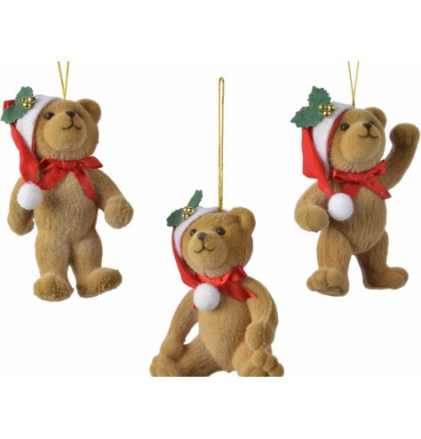 An assortment of traditional brown bear with a fuzzy fur effect and Santa hat detail.