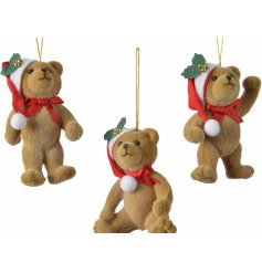 Sure to bring a cute and festive feel to any tree decor at Christmas, an assortment of hanging posed bears