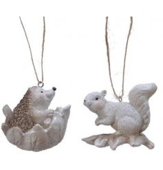Perfect for adding to any Tree decor with a Rustic Woodland setting, an assortment of squirrel and hedgehog hangers