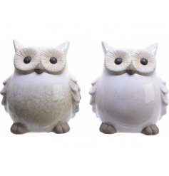 this mix of terracotta owls have light beige and soft pink tones