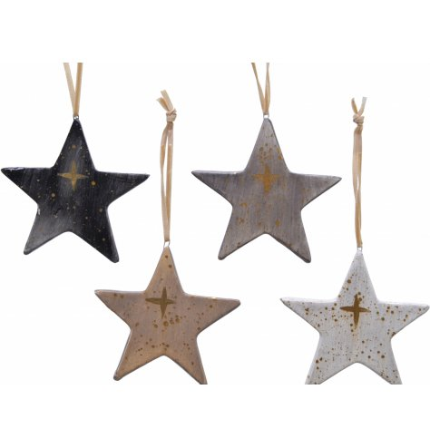 Toned and glazed terracotta hanging stars with gold paint detail.