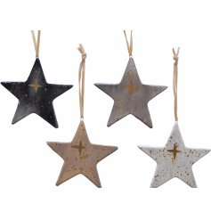 An assortment of smooth glazed terracotta star decorations, each set with its own colour tone and gold star print