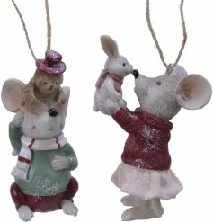 Sure to add a charming touch to any tree decor, an assortment of pastel toned resin mice with added glitter touches