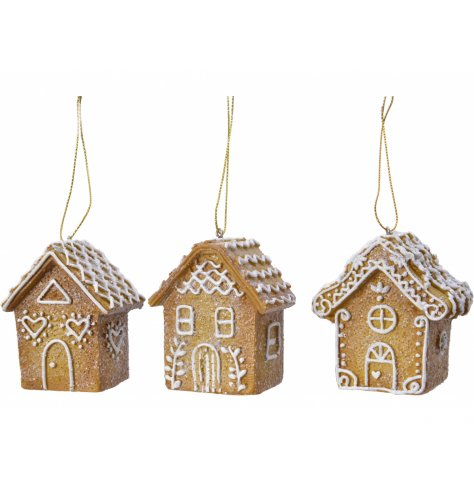 Adorable gingerbread style houses with a light dusting on glitter perfect for your tree.