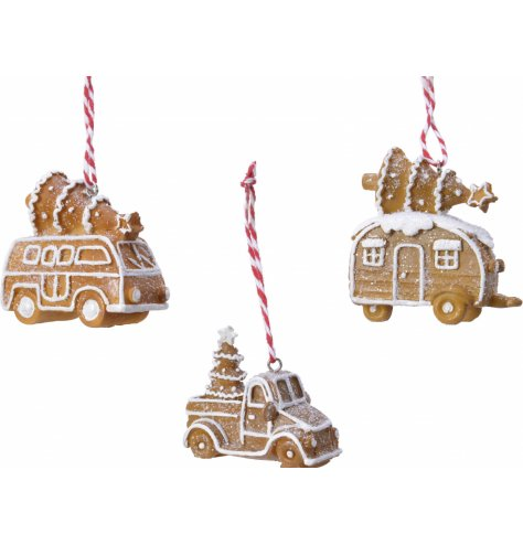 Gingerbread cookie style vehicle assortments for cute tree decorations.