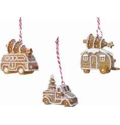 Display this assortment of scrummy looking Gingerbread Vehicle hangers in any tree for a traditional touch!