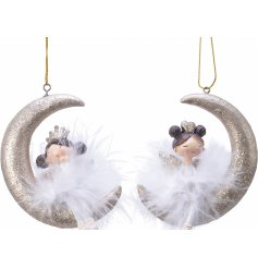 Sure to bring an enchanting feel to your tree decor, an assorted of posed fluffy angels sat on glittery crescent moons