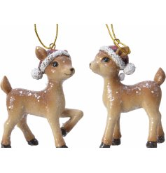Charming accessories to add to any tree display at Christmas, a mix of posed resin deer covered in glitter