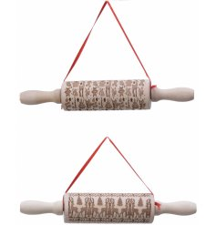 An assortment of wooden rolling pin decorations, each complete with a reindeer and gingerbread embossed decal