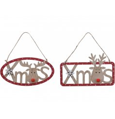 A festive mix of natural wooden rectangular and oval shaped XMAS hangers