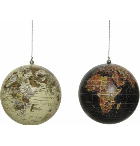 Two assorted hanging world globes in warming browns.