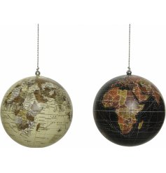 An assortment of vintage inspired globe baubles, in beige and dark brown tones