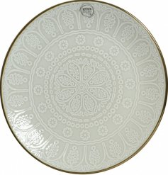 With its smooth glazing over an embossed snowflake print, this metallic rimmed plate will be sure to place perfectly on