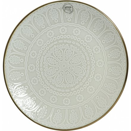 Snowflake Stoneware Dinner Plate, 19.5cm