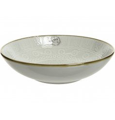 A beautifully embossed Stoneware Soup Bowl, complete with a smooth glazing and metallic rim finish