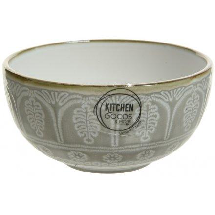 Metallic Rimmed Stoneware Bowl, 14cm