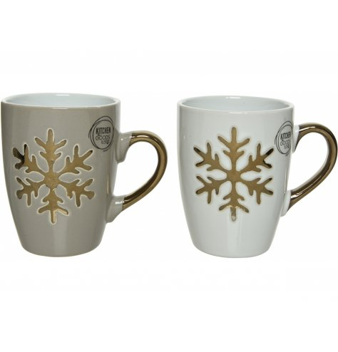 Neutral coloured stoneware mugs with gold decal snowflake and handle.