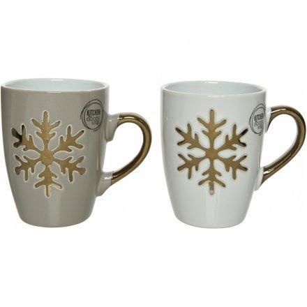 Snowflake Stoneware Mugs 2 Assorted