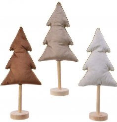 A chic assortment of standing Velvet tree decorations, each set with its own Earthen Colour and added bead trimming