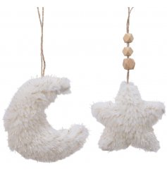 Pefect for tying in with any Whimsical Wonderland inspired spaces, an assortment of fuzzy Moon and Star Hangers
