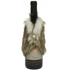 An assortment of faux fur mini coats that fit snug around almost any Wine Bottle, perfectly set with a glittery diamont