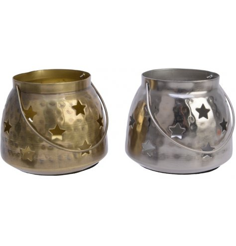 Distressed hammered iron lanterns with star cut outs in two assorted colours.