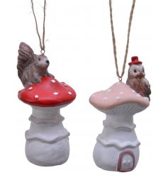 Sure to place perfectly in any themed space with an added Rustic Woodland Charm, a mix of hanging terracotta Mushrooms