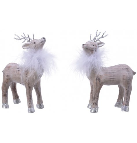 Two elegantly stood reindeer with feather details and glitter antlers.