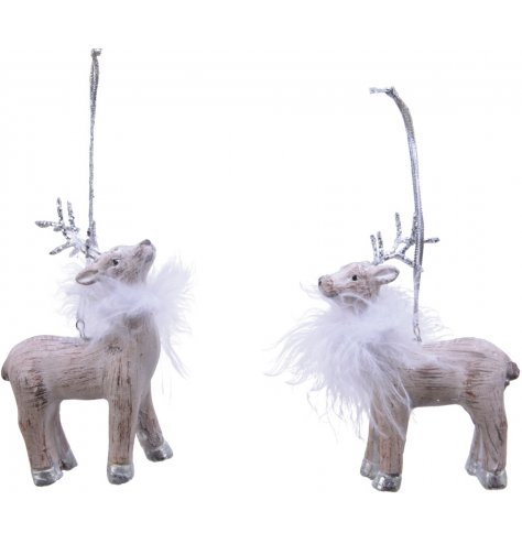 Two hanging deer with feather details and glitter antlers.
