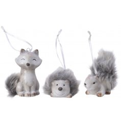 A festive assortment of Woodland Critter Hanging Decorations, each set with a fuzzy faux fur trimming
