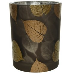 Covered with a beautiful decal of bronze and golden glitter leaf designs,