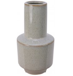 A smooth glazed stoneware vase that will place perfectly on any table centre or window sill